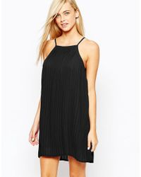 Fashion Union - Black Pleated Swing Dress With Halter Neck - Lyst