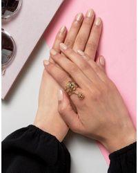 ASOS - Metallic Open Flower Coil Ring - Lyst