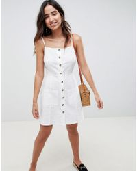 ASOS White Button Through Linen Mini Sundress