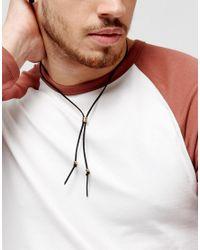 Classics 77 - Suedette Lariat Necklace In Black & Gold for Men - Lyst