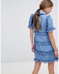 Sister Jane - Blue Tea Dress With Ruffles - Lyst