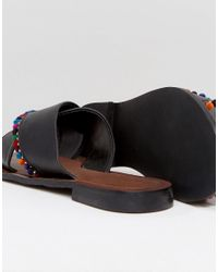 ASOS - Black Fresh Start Leather Pom Pom Flat Sliders - Lyst