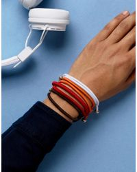 ASOS | Bracelet Pack With Metalic Beads In Red for Men | Lyst
