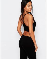 Boohoo - Black Cross Strap Crop Top - Lyst