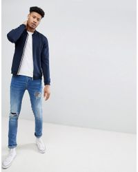 Ted Baker - Blue T For Tall Jersey Bomber In Navy for Men - Lyst