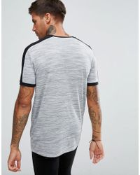 ASOS DESIGN - Gray Asos T-shirt With Shoulder Colour Block In Interest Fabric In Grey for Men - Lyst