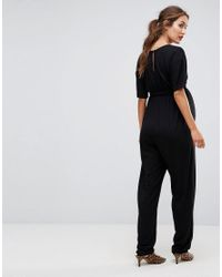 ASOS - Black Tall Belted Jumpsuit With Kimono Sleeve - Lyst