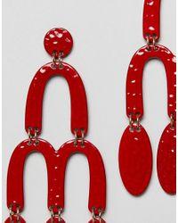 Mango - Red Metal Pendant Earrings - Lyst