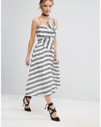 ASOS - White Stripe Bow Midi Dress - Lyst
