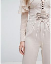 Lavish Alice - Pink Nude Lace Up Wide Leg Trousers - Lyst