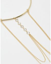 Orelia - Metallic Gold Plated Crystal Chain Drape Armcuff - Lyst