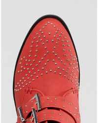 Truffle Collection - Red Western Stud Buckle Boot - Lyst