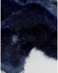 ASOS - Blue Asos Faux Fur Scarf In Navy for Men - Lyst