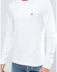 Original Penguin - Long Sleeve Top Small Logo Slim Fit In White for Men - Lyst