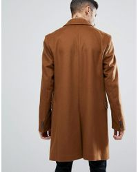 HUGO - Brown Migor Cashmere Mix Overcoat In Toffee for Men - Lyst