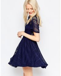 ASOS   Blue Skater Dress With Lace Back And Keyhole   Lyst