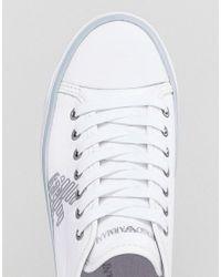 Emporio Armani - White Denim Side Eagle Logo Lace Up Plimsoll - Lyst