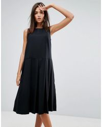 YMC - Black Pleat Wool Blend Dress - Lyst