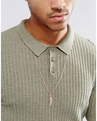 Simon Carter - Metallic Feather Pendant Necklace In Rose Gold for Men - Lyst