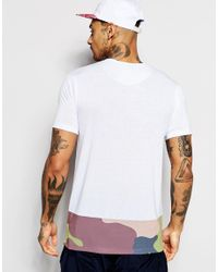 Hype - White T-shirt With Camo Panel for Men - Lyst