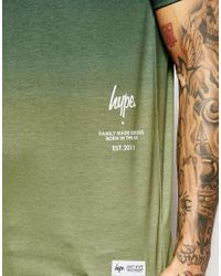 Hype - Green Gradient T-shirt With Side Logo for Men - Lyst