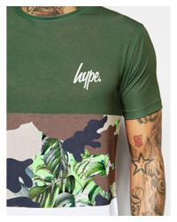 Hype - Green T-shirt With Camo Panel for Men - Lyst
