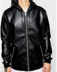ASOS - Black Faux Leather Jacket With Hood for Men - Lyst