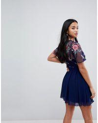 Little Mistress - Blue Embroidered Top Mini Skater Dress - Lyst