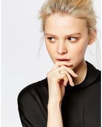 Monki - Metallic Cube Shape Ring With Pearl - Lyst