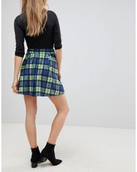 ASOS - Blue Mini Skirt With Box Pleats In Check - Lyst