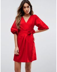 ASOS - Red Wrap Dress In Cotton With Hitched Sleeves - Lyst