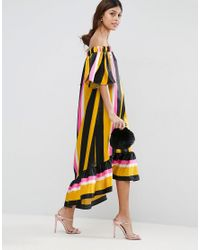 ASOS - Multicolor Bardot Stripe Longer Length Midi Dress - Lyst