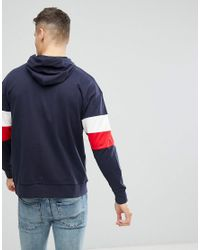Only & Sons - Blue Hoodie With Half Zip And Colour Blocking for Men - Lyst