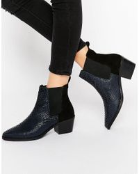 Park Lane - Multicolor Croc Print Leather Mid Heeled Chelsea Boots - Lyst