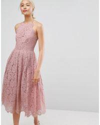 ASOS - Pink Lace Pinny Scallop Edge Prom Midi Dress - Lyst