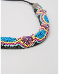 ASOS - Blue Twisted Bead Festival Headband - Lyst