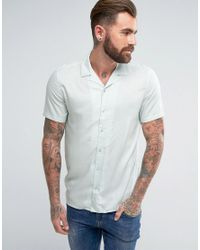 ASOS - Green Regular Fit Viscose Shirt With Revere Collar In Mint for Men - Lyst