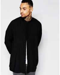 ASOS | Black Longline Shirt With Faux Suede Collar for Men | Lyst