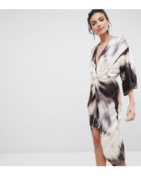 783bedc04f7b9c ASOS - Multicolor Asos Design Tall Midi Kimono Dress In Abstract Print -  Lyst