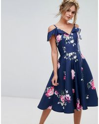 1c87be8135e Chi Chi London Midi Dress With Frill Cold Shoulder in Blue - Lyst