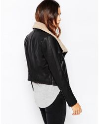 ASOS - Black Biker Jacket With Borg Waterfall - Lyst