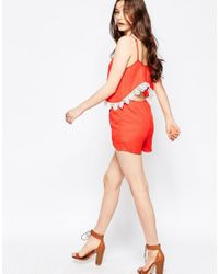 Girls On Film - Red Playsuit With Lace Detail - Lyst