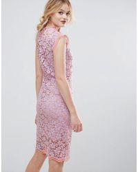 Traffic People | Purple Contrast Floral Lace Shift Dress | Lyst