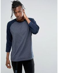 ASOS - Blue Relaxed Fit Raglan Long Sleeve T-shirt In Navy for Men - Lyst