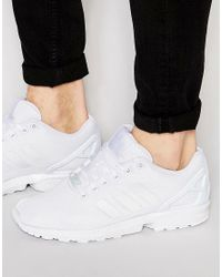 Adidas - White Zx Flux Trainers - Lyst