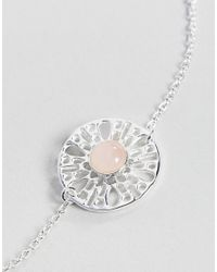 ASOS - Metallic Sterling Silver Faux Rose Quartz Fine Chain Bracelet - Lyst