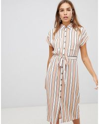 415a244b28 New Look Midi Shirt Dress In Stripe - Lyst