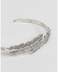 ASOS - Metallic Exclusive Feather Cuff Bracelet - Lyst