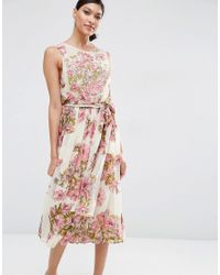 ASOS | Pink Salon Pretty Floral Soft Midi With Embellishment Bodice Dress | Lyst