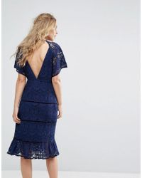 Foxiedox - Blue Lace Panel Midi Dress - Lyst